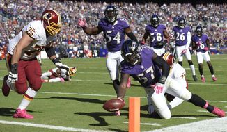 Baltimore Ravens' C.J. Mosley (57) fumbles a pass he intercepted in the end zone during the second half of an NFL football game against the Washington Redskins, Sunday, Oct. 9, 2016, in Baltimore. (AP Photo/Nick Wass)