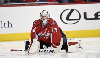 Washington Capitals goalie Braden Holtby (70) stretches during warm ups before an NHL preseason hockey game against the St. Louis Blues, Monday, Oct. 3, 2016, in Washington. (AP Photo/Nick Wass)