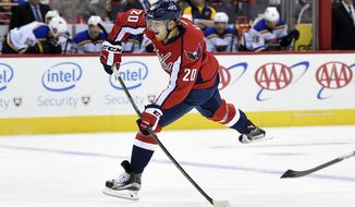 Washington Capitals center Lars Eller (20), of Denmark, takes a shot during the first period of an NHL preseason hockey game against St. Louis Blues, Monday, Oct. 3, 2016, in Washington. (AP Photo/Nick Wass)