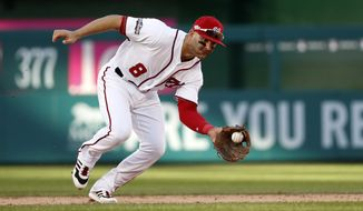 Washington Nationals shortstop Danny Espinosa (8) fields a ground ball during Game 2 of baseball's National League Division Series against the Los Angeles Dodgers, at Nationals Park, Sunday, Oct. 9, 2016, in Washington. The Nationals won 5-2.(AP Photo/Alex Brandon)
