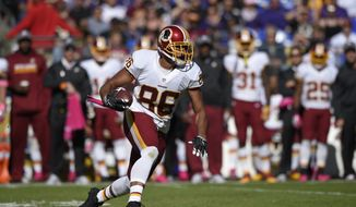 Washington Redskins' Jordan Reed in action during the second half of an NFL football game against the Baltimore Ravens, Sunday, Oct. 9, 2016, in Baltimore. (AP Photo/Nick Wass)