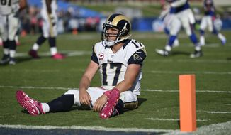 Los Angeles Rams quarterback Case Keenum reacts after throwing an interception during the second half of an NFL football game against the Buffalo Bills, Sunday, Oct. 9, 2016, in Los Angeles. (AP Photo/Kelvin Kuo)