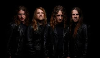 Ryan O'Keeffe (far right) drums in the Australian band Airbourne.  (John McMurtrie)