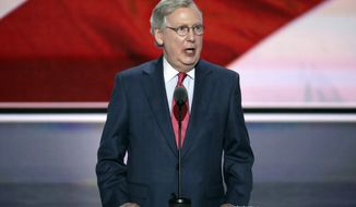 FILE - In this July 19, 2016, file photo, Majority Leader Mitch McConnell of Kentucky speaks during the second day of the Republican National Convention in Cleveland. Republicans nervously eyeing the White House race are learning a lesson with Donald Trump that McConnell painfully experienced in 2010 and 2012 when faulty outsider candidates blew several perfectly winnable Senate elections. (AP Photo/J. Scott Applewhite, File)