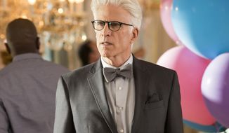 "This image released by NBC shows Ted Danson as Michael in a scene from, ""The Good Place,"" airing Thursdays at 8:30 p.m. EDT. (Justin Lubin/NBC via AP)"