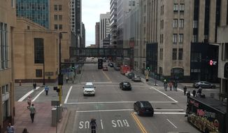 Downtown Minneapolis as seen through one stretch of the Skyway.  (Eric Althoff)