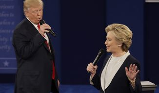 In this Sunday, Oct. 9, 2016, file photo, Republican presidential nominee Donald Trump and Democratic presidential nominee Hillary Clinton speak during the second presidential debate at Washington University in St. Louis. (AP Photo/Patrick Semansky, File)