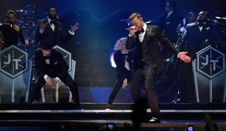 "In this image released by Netflix,  Justin Timberlake performs in ""Justin Timberlake + the Tennessee Kids,"" a concert film premiering on Oct. 12, 2016 on Netflix. (Tennman Entertainment, Inc./Netflix via AP)"