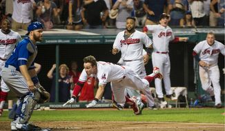 Tyler Naquin helped the Cleveland Indians beat the Toronto Blue Jays on Aug. 19 on an inside-the-park walk-off home run. The two teams battle Friday in the ALCS. (Associated Press)