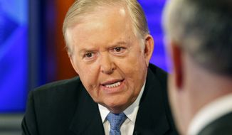 "In this Nov. 16, 2009 file photo, Lou Dobbs, left, speaks with Bill O'Reilly during taping a segment for Fox News channel's ""The O'Reilly Factor,"" in New York. Dobbs apologized Thursday, Oct. 13, 2016, for a tweeting the address and phone number of a woman who alleged Donald Trump had groped her without her consent. (AP Photo/Kathy Willens, File)"