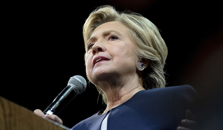 Democratic presidential candidate Hillary Clinton speaks at a fundraiser at the Civic Center Auditorium in San Francisco, Thursday, Oct. 13, 2016. (AP Photo/Andrew Harnik)