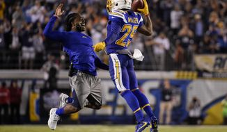 San Diego Chargers cornerback Craig Mager (29) reacts with teammate strong safety Jahleel Addae after picking up a fumble during the second half of an NFL football game against the Denver Broncos, Thursday, Oct. 13, 2016, in San Diego. (AP Photo/Denis Poroy)