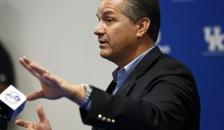 Kentucky men's basketball head coach John Calipari speaks to the media during Media Day on campus Thursday, Oct. 13, 2016, in Lexington, Ky. (AP Photo/James Crisp)