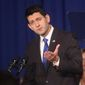 House Speaker Paul Ryan, R-Wis., speaks during an appearance with a group of College Republicans at the Masonic Center in Madison, Wis., Friday, Oct. 14, 2016. (John Hart/Wisconsin State Journal via AP)