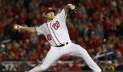 Washington Nationals relief pitcher Mark Melancon throws to a Los Angeles Dodgers batter during the eighth inning of Game 5 of a baseball National League Division Series, at Nationals Park on Thursday, Oct. 13, 2016, in Washington. (AP Photo/Pablo Martinez Monsivais)
