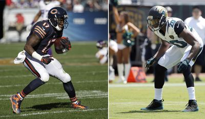 FILE - At left, in a Nov. 1, 2015, file photo, Chicago Bears wide receiver Alshon Jeffery (17) runs the ball during the first half of an NFL football game against the Minnesota Vikings, in Chicago. At right, in a Sept. 11, 2016, file photo,  Jacksonville Jaguars cornerback Jalen Ramsey (20) looks to defend against the Green Bay Packers during the first half of an NFL football game in Jacksonville, Fla. The Bears and Jaguars meet in a matchup between last-place teams on Sunday, Oct. 16, 2016. The matchup between Ramsey and Jeffery could be a good one.(AP Photo/File)