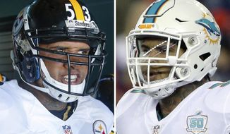 FILE - At left, in a Sept. 25, 2016, file photo, Pittsburgh Steelers center Maurkice Pouncey looks to take the field prior to the NFL football game against the Philadelphia Eagles, in Philadelphia. At right, in an Oct. 29, 2015, file photo, Miami Dolphins center Mike Pouncey runs onto the field before an NFL football game against the New England Patriots, in Foxborough, Mass. Twin brothers Mike Pouncey and Maurkice Pouncey spent their childhoods trying to one up each other. Now they're two of the best offensive linemen in the NFL, ones who will be on opposite sidelines Sunday when Maurkice and the Pittsburgh Steelers visit Mike and the Miami Dolphins. (AP Photo/File)