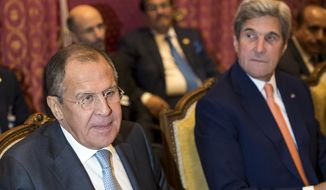 Russian Foreign Minister Sergei Lavrov, left, and U.S. Secretary of State John Kerry, right, attend a bilateral meeting on the crisis in Syria, in Lausanne, Switzerland, Saturday, Oct. 15, 2016. The United States, Russia and seven other would-be Syria mediators ended a 4½-hour meeting Saturday without agreement or concrete steps to match what America's top diplomat described as the urgent crisis in the city of Aleppo. Instead, the envoys said only that new ideas were proposed and more discussions planned. (Jean-Christophe Bott/Keystone via AP)