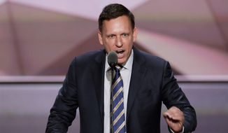Donald Trump supporter Peter Thiel co-founded Palantir Technologies, which is facing a Labor Department lawsuit accusing it of job discrimination. (Associated Press) ** FILE **
