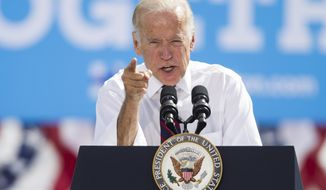 Vice President Joe Biden speaks during a campaign rally for Nevada Democratic U.S. Senate candidate Catherine Cortez Masto and Democratic presidential candidate Hillary Clinton at the Culinary Union Local 226 headquarters on Thursday, Oct. 13, 2016, in Las Vegas. (Erik Verduzco/Las Vegas Review-Journal via AP)