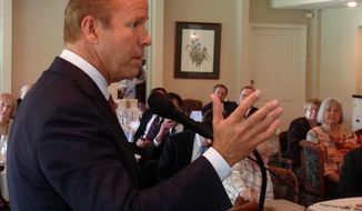 In this Oct. 6, 2016 photo, U.S. Rep. John Delaney speaks to retired school personnel during a candidates forum in Cumberland, Md. Delaney, a Democrat, is seeking a third term representing Maryland's 6th Congressional District. (AP Photo/David Dishneau)
