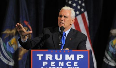 Republican vice presidential candidate Mike Pence speaks, Monday Oct. 17, 2016, during the Macomb County Republican Party's Lincoln Day dinner at Palazzo Grande Banquet & Event Center inn Shelby Township, Mich. (Steve Perez /Detroit News via AP)