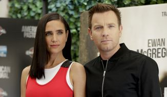 Actors Jennifer Connelly, left, and Ewan McGregor pose for photographers during the photo call of their film 'American Pastoral', in Rome, Monday, Oct. 3, 2016. (AP Photo/Andrew Medichini)