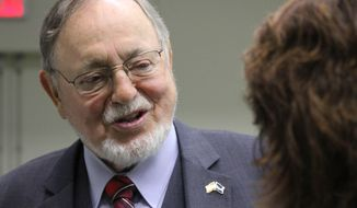 U.S. Rep. Don Young, the longest serving Republican in the U.S. House, speaks to reporters Monday, Oct. 17, 2016, in Anchorage, Alaska. Young, along with Democrat Steve Lindbeck and Libertarian Jim McDermott, took part in a candidates forum ahead of the Nov. 8 general election. (AP Photo/Mark Thiessen)