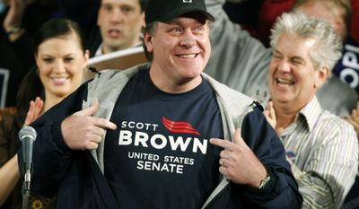 FILE - In this Jan. 17, 2010 file photo, former Boston Red Sox pitcher Curt Schilling shows his support for Massachusetts State Senator Scott Brown at a rally in Worcester, Mass., during a campaign rally to fill the U.S. Senate seat left empty by the death of Sen. Edward M. Kennedy, D-Mass. Schilling announced plans on Tuesday, Oct. 18, 2016 during a radio interview at Rhode Island's WPRO-AM, to run in 2018 against Sen. Elizabeth Warren, D-Mass., if his wife agrees. Schilling also said he's ultimately responsible for the collapse of his 38 Studios video game company in Rhode Island. (AP Photo/Robert F. Bukaty, File)