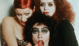 """Nell Campbell (left) and Patricia Quinn appeared in """"The Rocky Horror Picture Show"""" with Tim Curry.  (Rocky Horror Wiki - Wikia)"""