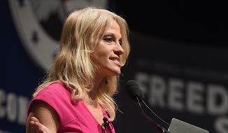 Trump campaign manager Kellyanne Conway says when her boss threatened to jail Hillary Clinton, he was speaking metaphorically.