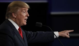 """""""First of all, those stories have been largely debunked. I don't know those people. I have a feeling how they came. I think it was her campaign that did it,"""" Donald Trump said. (Associated Press)"""