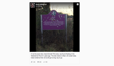 Photograph uploaded to Facebook by filmmaker Kevin Wilson, showing the bullet-riddled sign commemorating the murder of Emmett Till in 1955.
