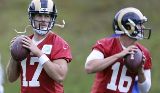 LA Rams quarterbacks Case Keenum and Jared Goff attend a training session in Bagshot, England, Wednesday Oct. 19, 2016. The Los Angeles Rams are due to play the New York Jets at Twickenham stadium in London on Sunday in a regular season NFL game. (Sean Ryan/NFL via AP)