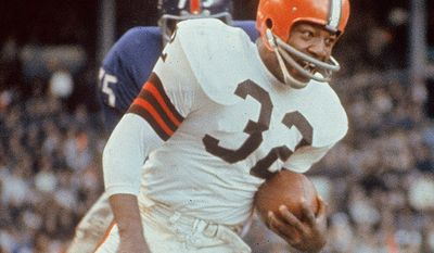 Jim Brown is best known for his record-setting nine-year career as a fullback for the Cleveland Browns of the National Football League (NFL) from 1957 through 1965. In 2002, he was named by Sporting News as the greatest professional football player ever. (AP Photo)