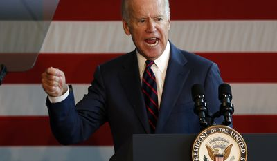 Vice President Joe Biden speaks during a campaign rally for Democratic presidential candidate Hillary Clintonm Thursday, Oct. 20, 2016, in Nashua, N.H. (AP Photo/Jim Cole)
