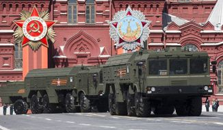 In the run-up to the European Council summit, Russia once again deployed nuclear-capable Iskander missiles to its enclave of Kaliningrad, which borders Lithuania and Poland. (Associated Press/File)