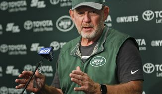 New York Jets offensive coordinator Chan Gailey talks to reporters after NFL football practice in Florham Park, N.J., Thursday, Oct. 20, 2016.  Gailey was Todd Bowles' hand-picked offensive coordinator when he was hired as Jets coach last year. After a terrific 2015 season, the Jets are struggling mightily on offense, have switched quarterbacks, and it's on Gailey to get things turned around, and quickly. (AP Photo/Seth Wenig)