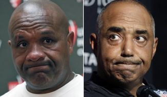 FILE - At left, in an Oct. 2, 2016, file photo, Cleveland Browns head coach Hue Jackson pauses while speaking during a media availability after an NFL football game against the Washington Redskins, in Landover, Md. At right, in an Oct. 16, 2016, file photo, Cincinnati Bengals head coach Marvin Lewis speaks to the media following an NFL football game against the New England Patriots, in Foxborough, Mass. The Bengals and Browns play in Cincinnati in Sunday. (AP Photo/File)