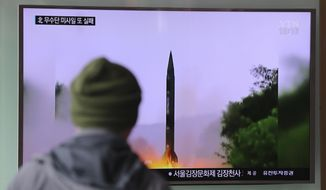 "A man watches a TV news program showing a file image of missile launch conducted by North Korea, at the Seoul Railway Station in Seoul, South Korea, Thursday, Oct. 20, 2016. The U.S. military says it detected a ""failed"" North Korean missile launch on Wednesday.  The U.S. Strategic Command issued a statement late Wednesday saying it presumed the missile was a Musudan intermediate-range ballistic missile.(AP Photo/Lee Jin-man)"