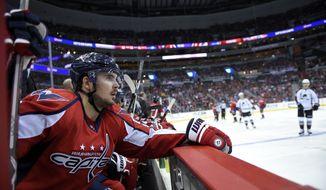 Washington Capitals left wing Marcus Johansson (90), of Sweden, looks on during the third period of an NHL hockey game against the Colorado Avalanche, Tuesday, Oct. 18, 2016, in Washington. The Capitals won 3-0. (AP Photo/Nick Wass)
