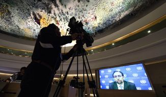 United Nations High Commissioner for Human Rights Zeid Ra'ad Al Hussein addresses via video message during the Human Rights Council that holds its 25th special session on the human rights situation in Aleppo at the UN headquarters in Geneva, Switzerland, Friday, Oct. 21, 2016. (Martial Trezzini/Keystone via AP)