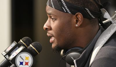 FILE - In this Oct. 9, 2016, file photo,Pittsburgh Steelers running back Le'Veon Bell speaks to the media in Pittsburgh. LeGarette Blount effectively walked out on the Steelers and good friend Le'Veon Bell two years ago due to a lack of playing time. Bell didn't take it personally though Blount is likely to receive a rude welcome when he returns to Pittsburgh on Sunday while playing for New England.(AP Photo/Fred Vuich, File)