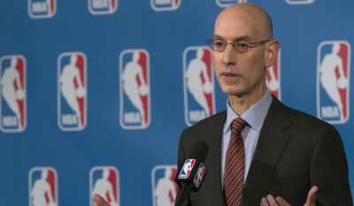 """NBA Commissioner Adam Silver speaks to reporters during a news conference, Friday, Oct. 21, 2016, in New York. Silver says the league and players have made """"tremendous progress"""" toward an extension of the collective bargaining agreement, saying he hoped a deal would be completed soon.(AP Photo/Mary Altaffer) **FILE**"""