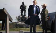 Interpretive park ranger Caitlin Kostic, right, gives a tour near the high-water mark of the Confederacy at Gettysburg National Military Park to Republican presidential candidate Donald Trump, Saturday, Oct. 22, 2016, in Gettysburg, Pa. (AP Photo/ Evan Vucci)