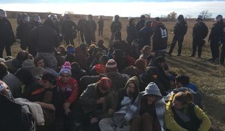 Protesters of the Dakota Access pipeline. Photo by Valerie Richardson, The Washington Times.