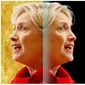 Illustration on Hillary's contradictory positions by Alexander Hunter/The Washington Times