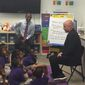 Andre Agassi found enthusiasm for education from second-grade students at Rocketship Rise Academy in the District's Ward 8. (Julia Porterfield/The Washington Times)