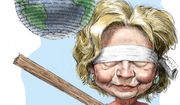Illustration on the international dangers of a Clinton presidency by Alexander Hunter/The Washington Times
