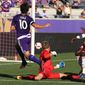 Orlando player Kaka (10) scores a goal past D.C. goalkeeper Travis Worra (48) during an MLS soccer game at Camping World Stadium on Sunday, Oct. 23, 2016. (Stephen M. Dowell/Orlando Sentinel via AP)